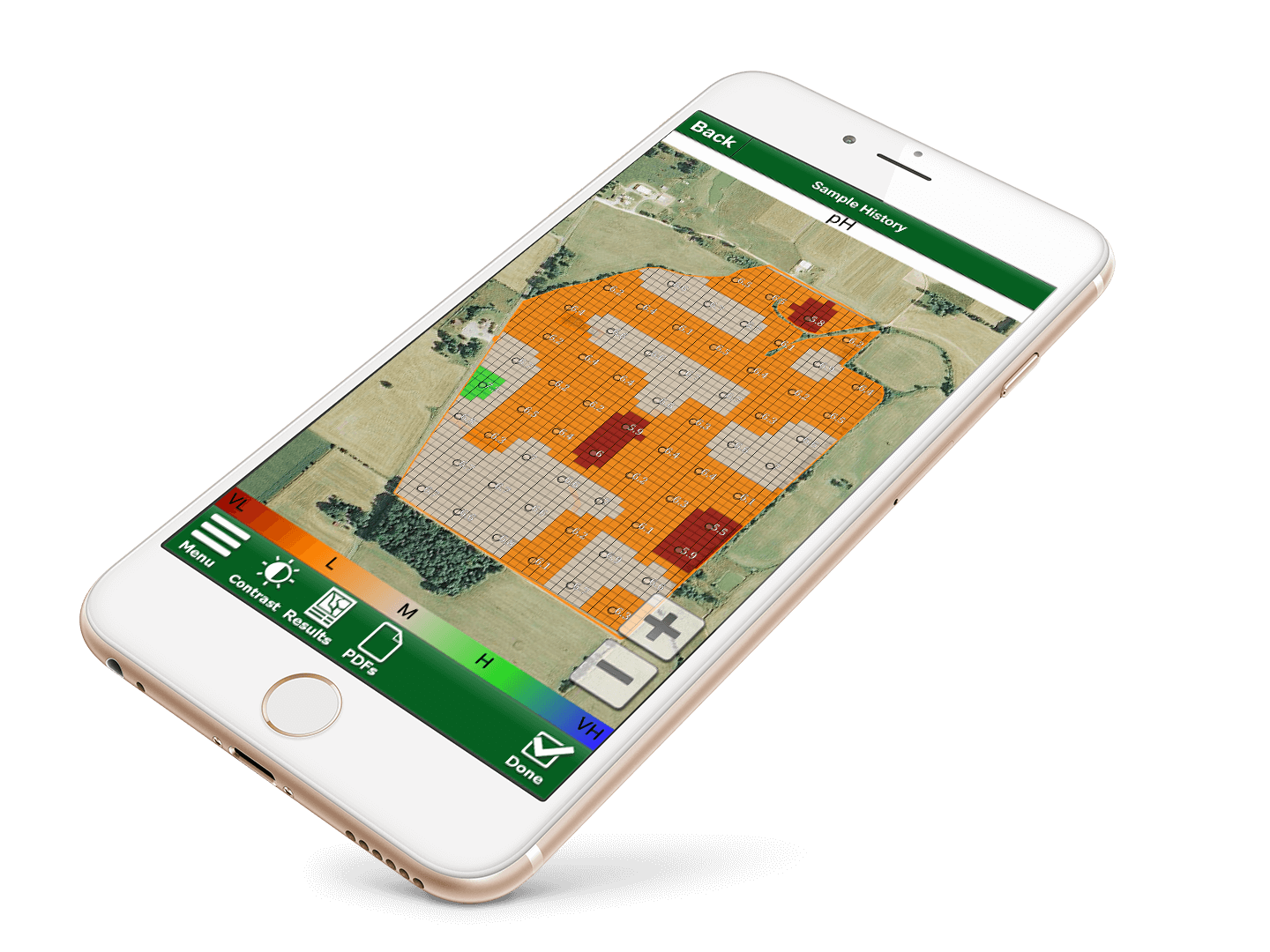Soil Test Pro lab results now integrated with the John Deere Operations center - displayed on mobile