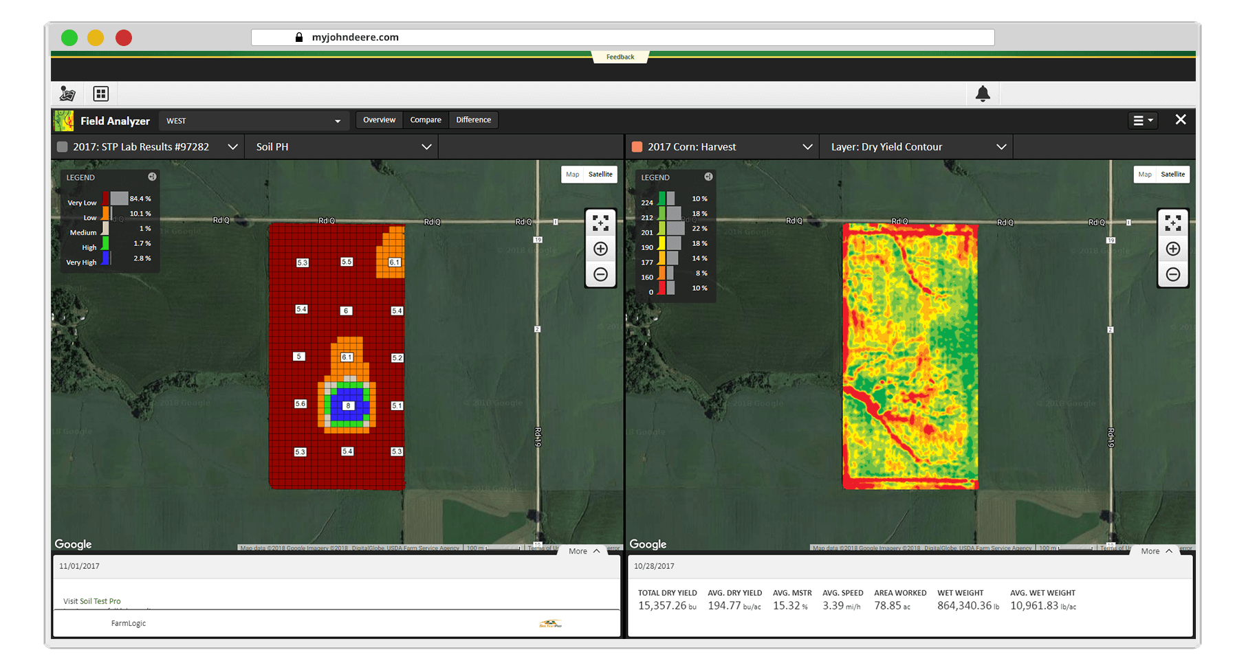 Compare Soil Test Pro lab results side-by-side with yield maps using the Field Analyzer in the John Deere Operations Center